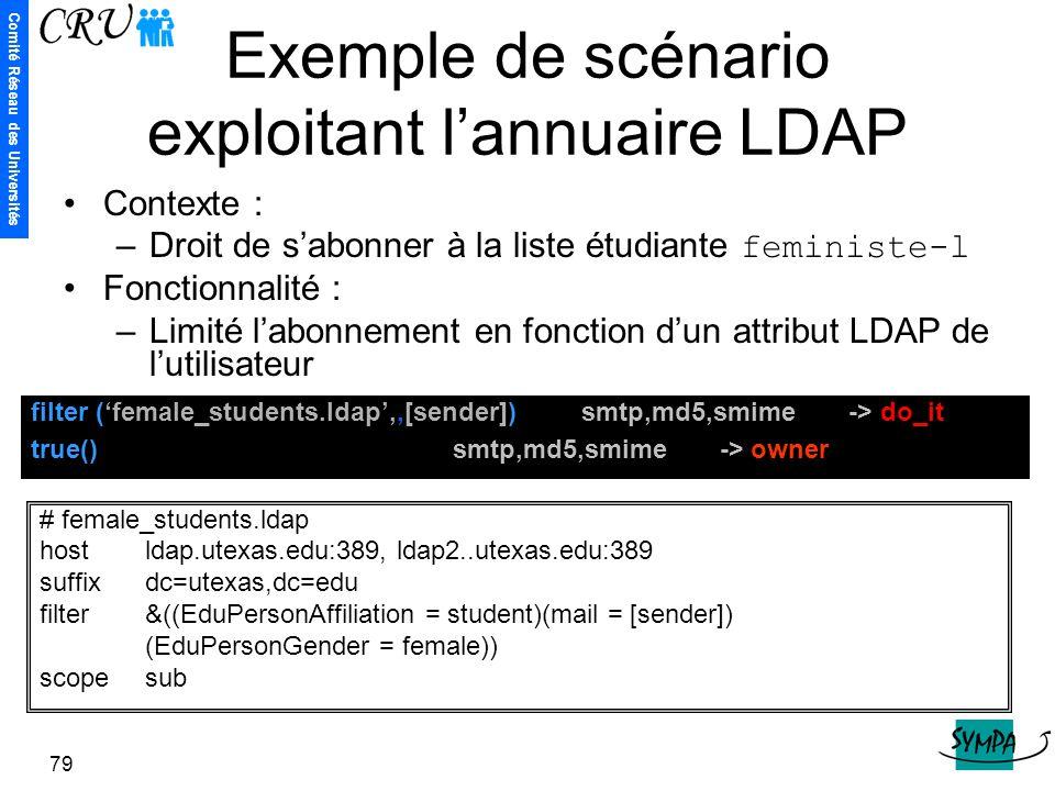Exemple de scénario exploitant l'annuaire LDAP