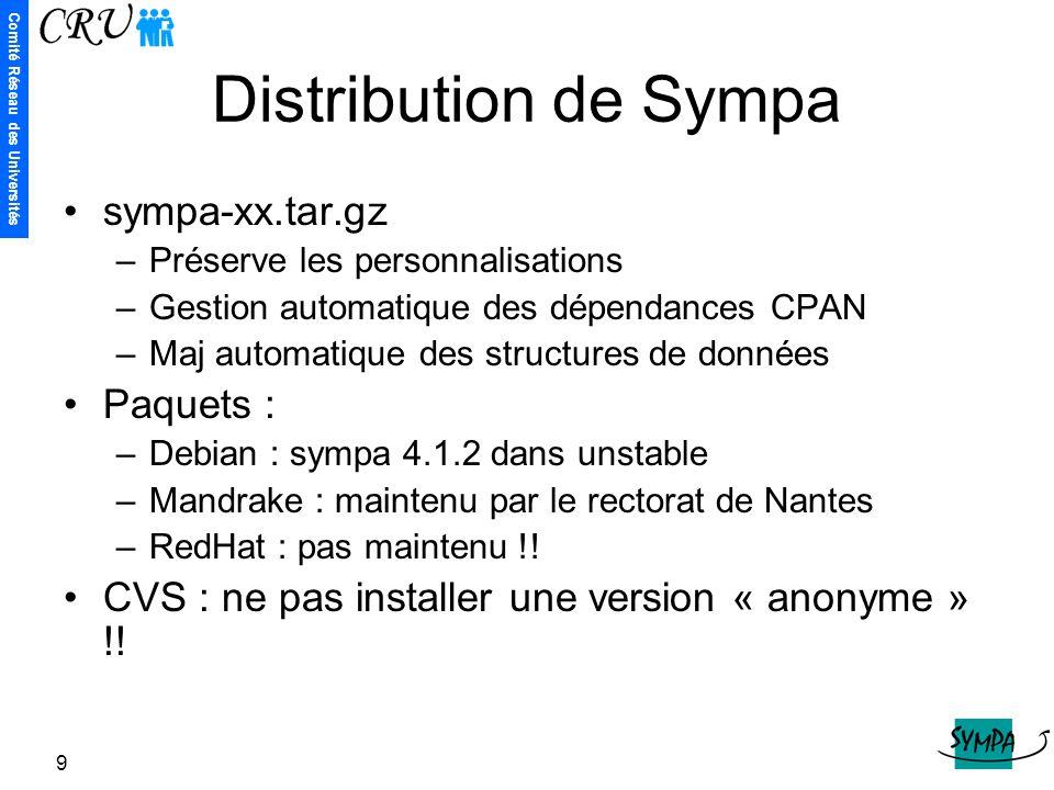 Distribution de Sympa sympa-xx.tar.gz Paquets :