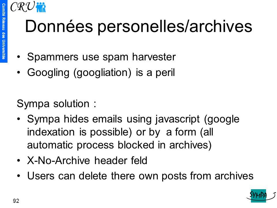 Données personelles/archives