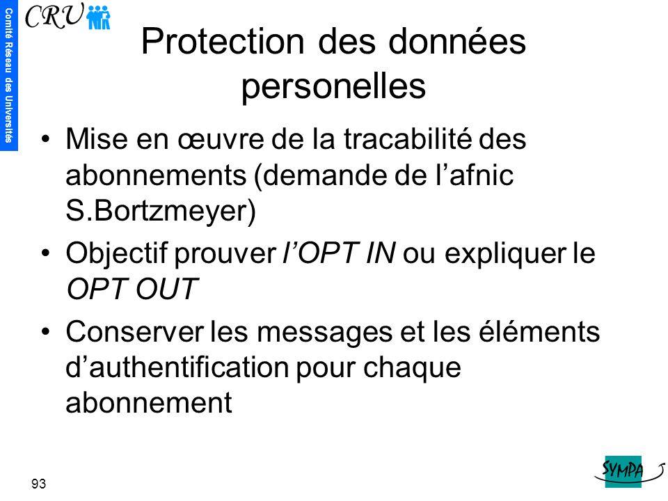Protection des données personelles
