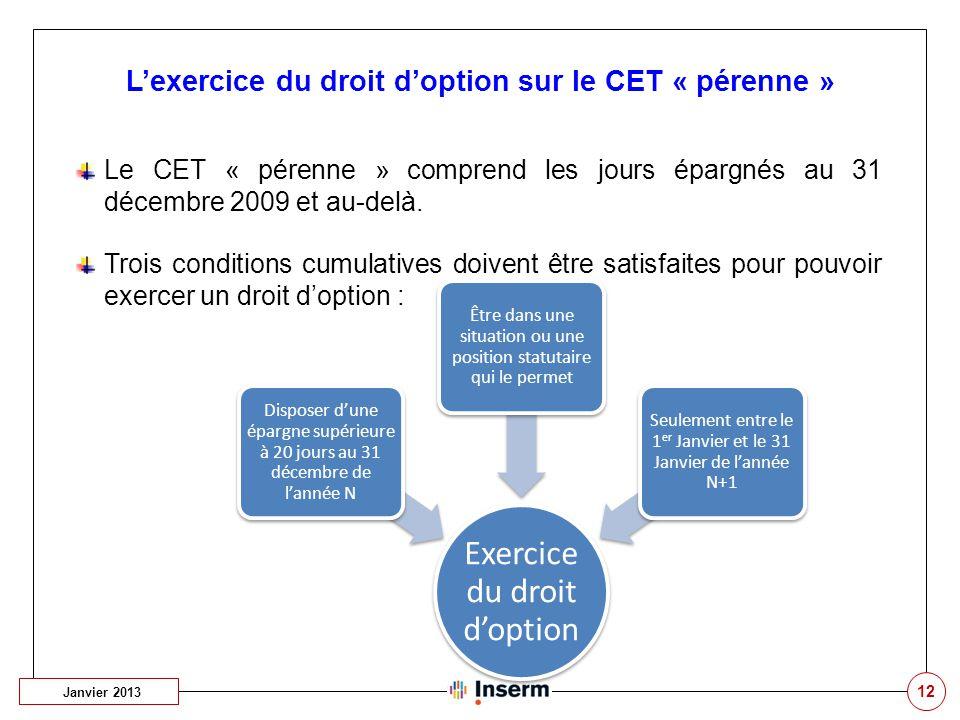L'exercice du droit d'option sur le CET « pérenne »