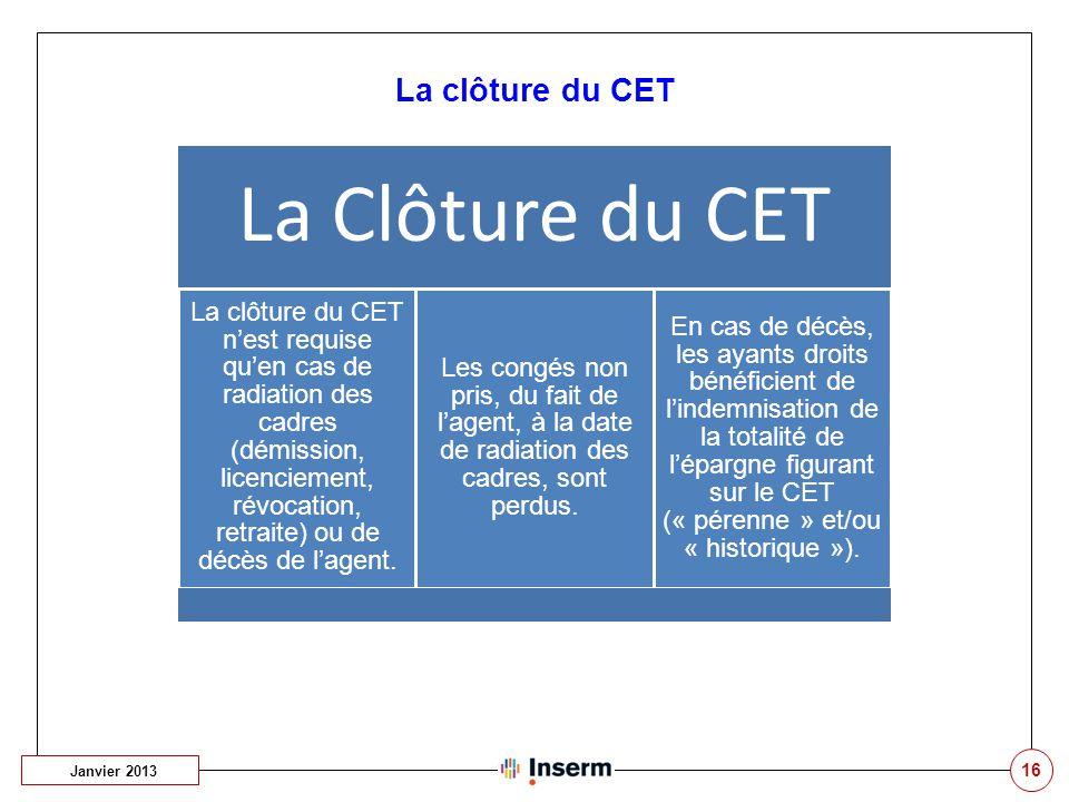La Clôture du CET La clôture du CET