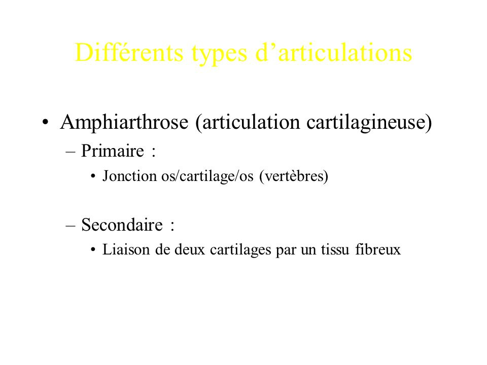 Différents types d'articulations