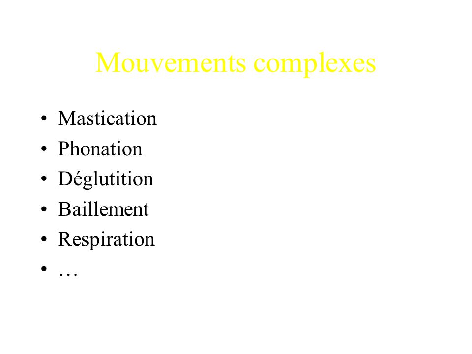 Mouvements complexes Mastication Phonation Déglutition Baillement