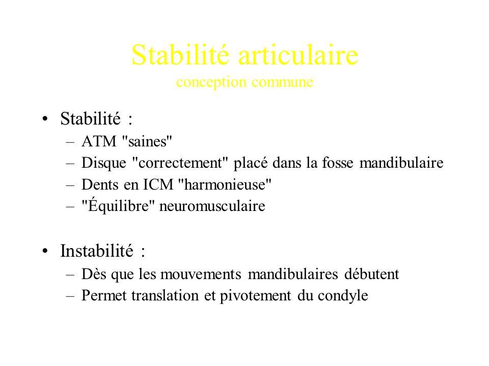 Stabilité articulaire conception commune