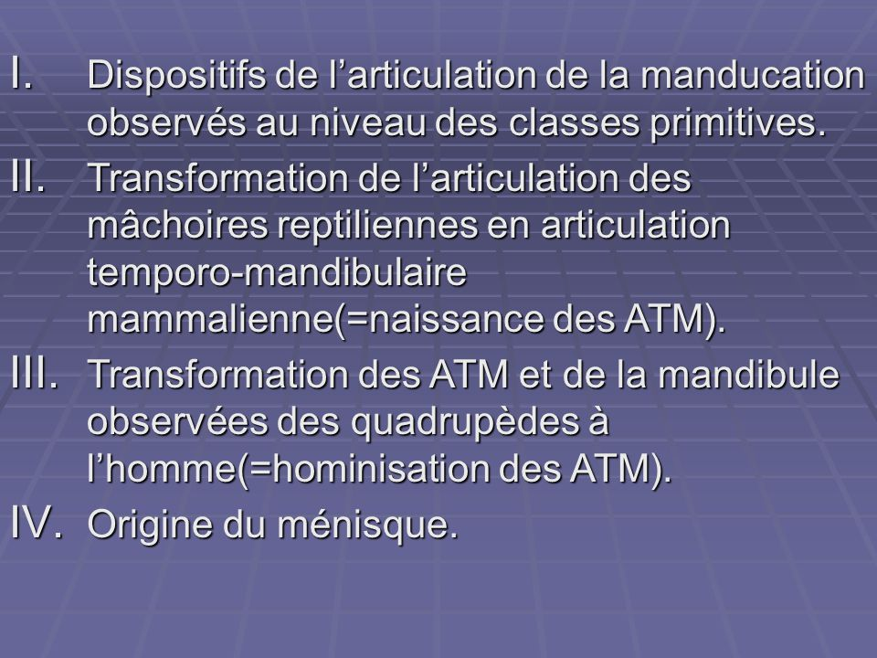 Dispositifs de l'articulation de la manducation observés au niveau des classes primitives.