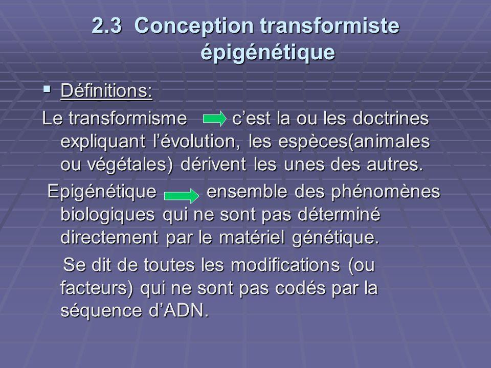 2.3 Conception transformiste épigénétique
