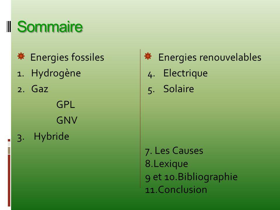 Sommaire Energies fossiles Hydrogène Gaz GPL GNV 3. Hybride