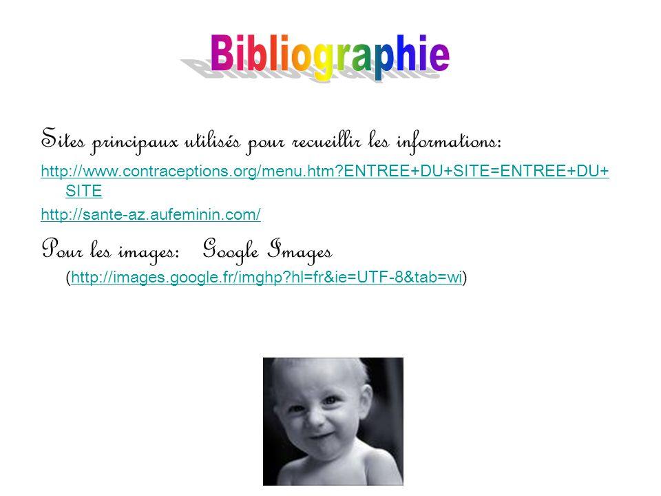 Bibliographie Sites principaux utilisés pour recueillir les informations: http://www.contraceptions.org/menu.htm ENTREE+DU+SITE=ENTREE+DU+SITE.