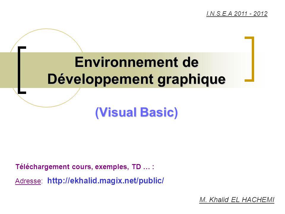 Environnement de Développement graphique (Visual Basic)