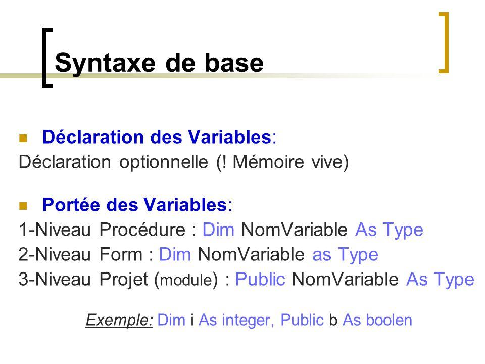 Exemple: Dim i As integer, Public b As boolen