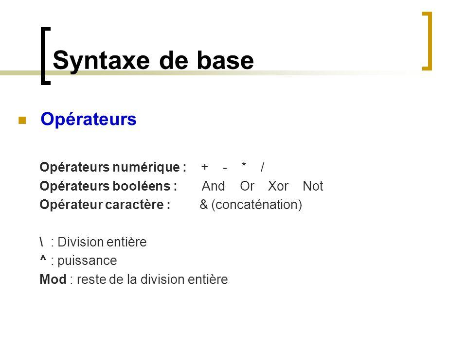 Syntaxe de base Opérateurs Opérateurs numérique : + - * /