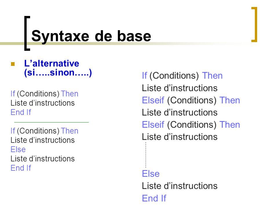 Syntaxe de base L'alternative (si…..sinon…..) If (Conditions) Then