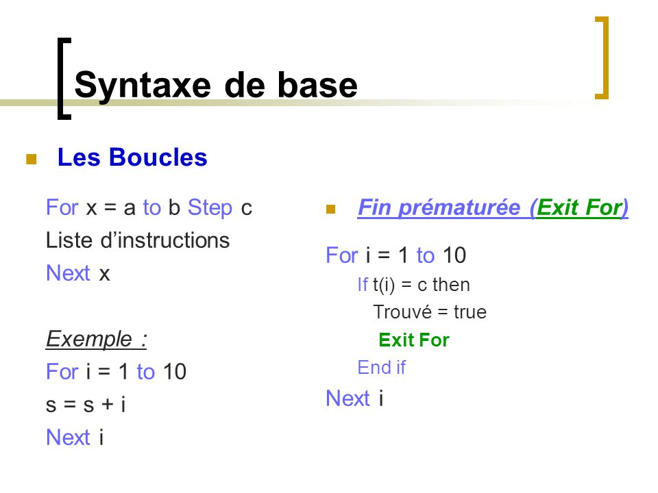 Syntaxe de base Les Boucles For x = a to b Step c Liste d'instructions