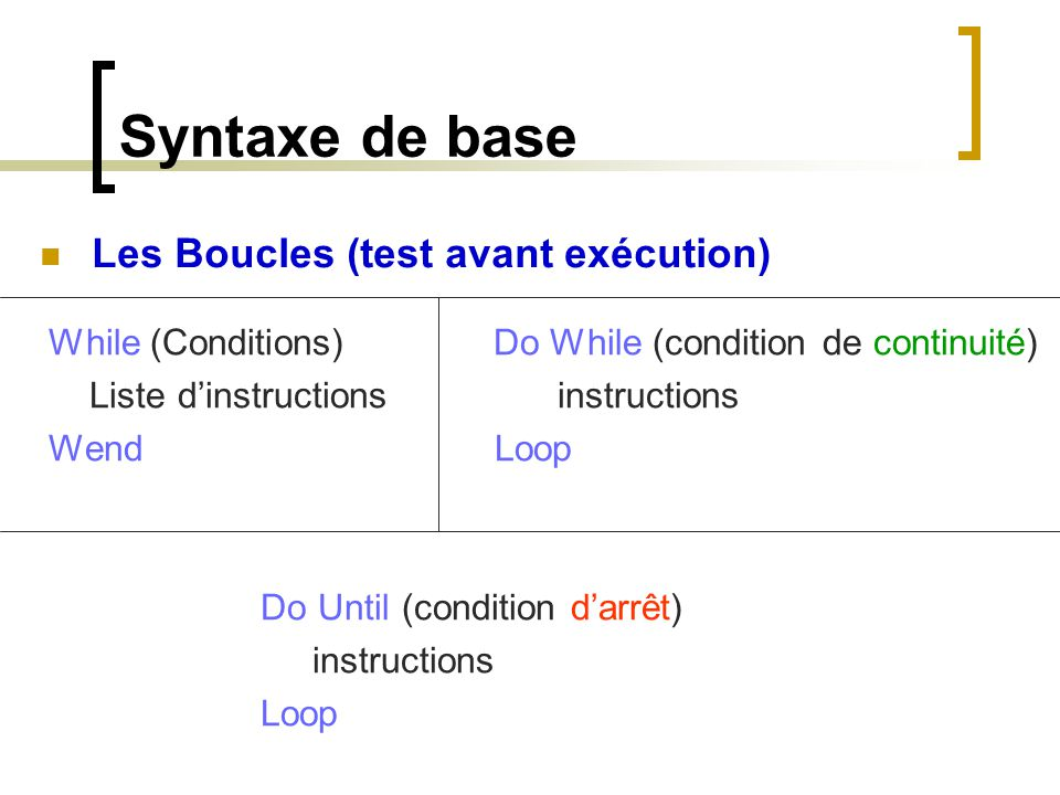Syntaxe de base Les Boucles (test avant exécution)