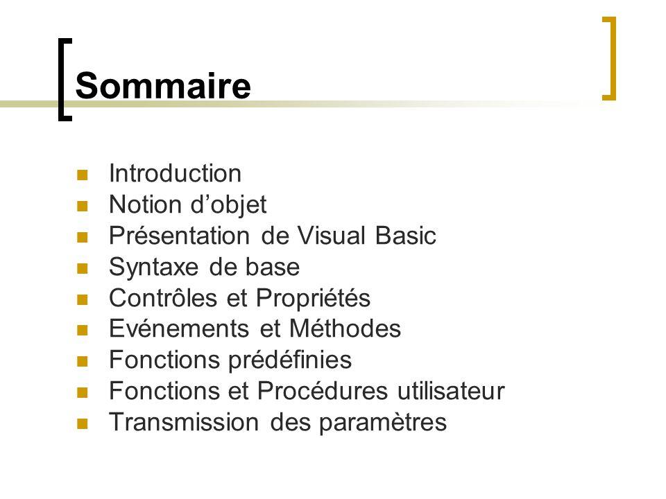 Sommaire Introduction Notion d'objet Présentation de Visual Basic