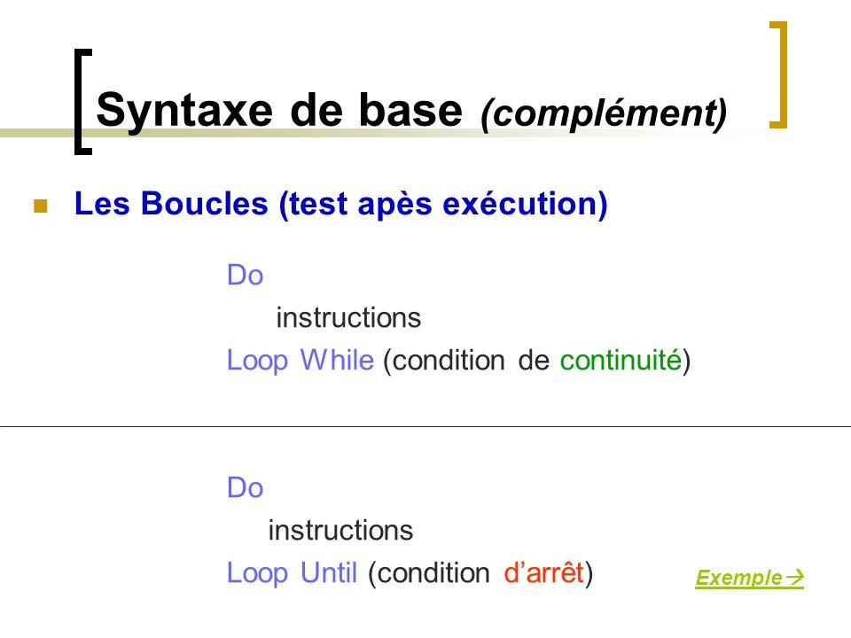 Syntaxe de base (complément)