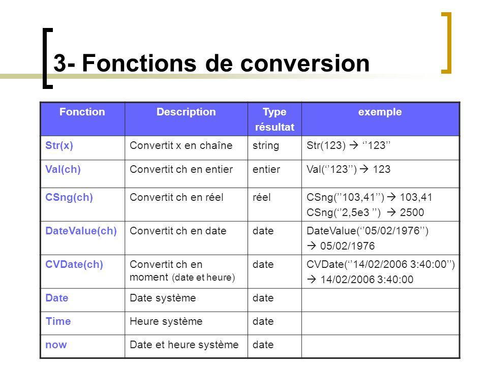 3- Fonctions de conversion