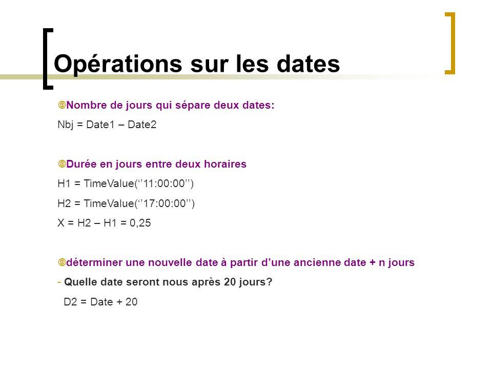 Opérations sur les dates