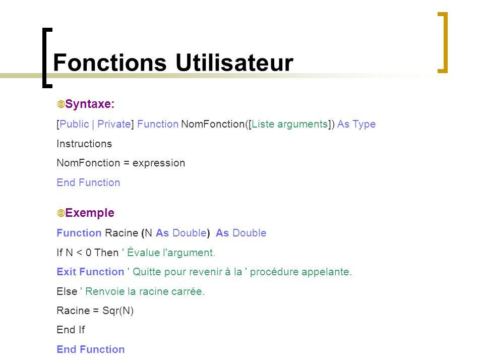 Fonctions Utilisateur