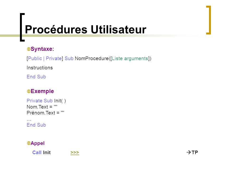 Procédures Utilisateur