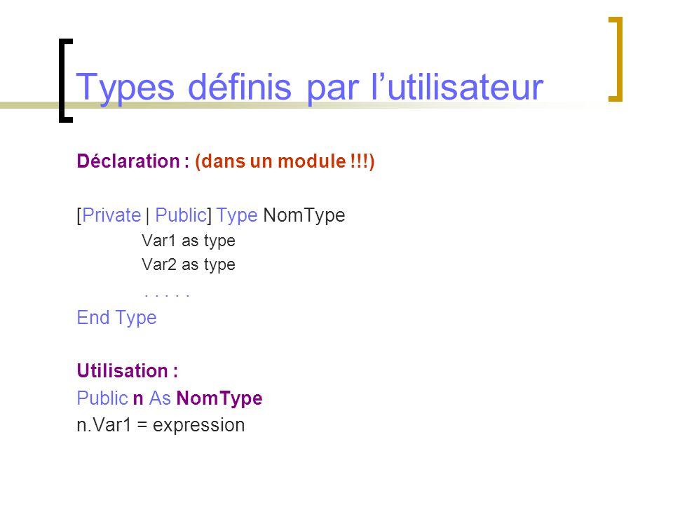 Types définis par l'utilisateur