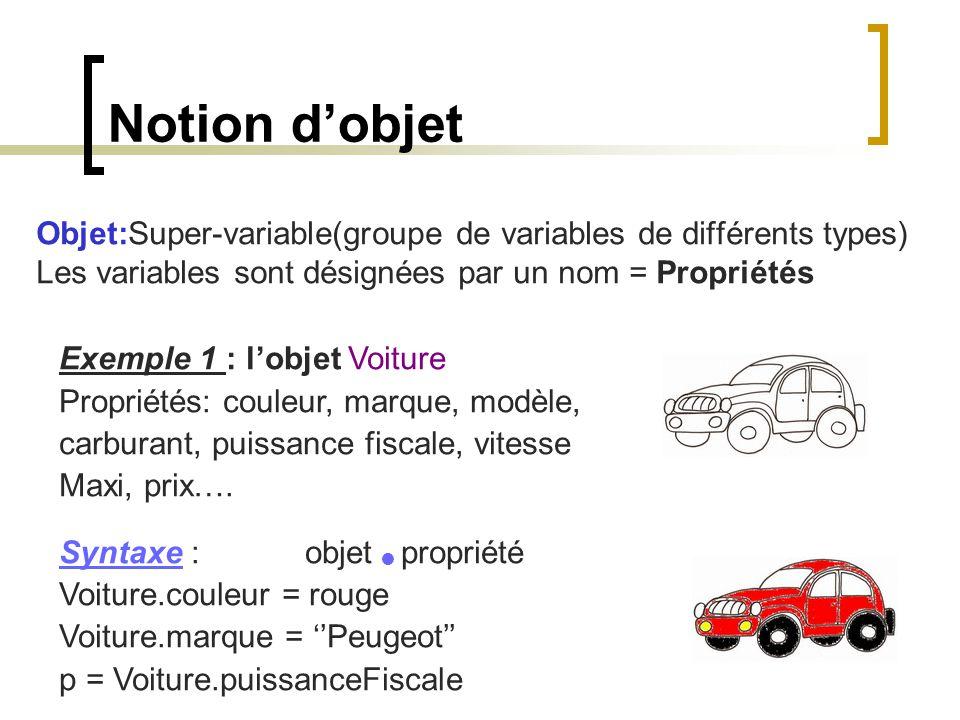 Notion d'objet Objet:Super-variable(groupe de variables de différents types) Les variables sont désignées par un nom = Propriétés.