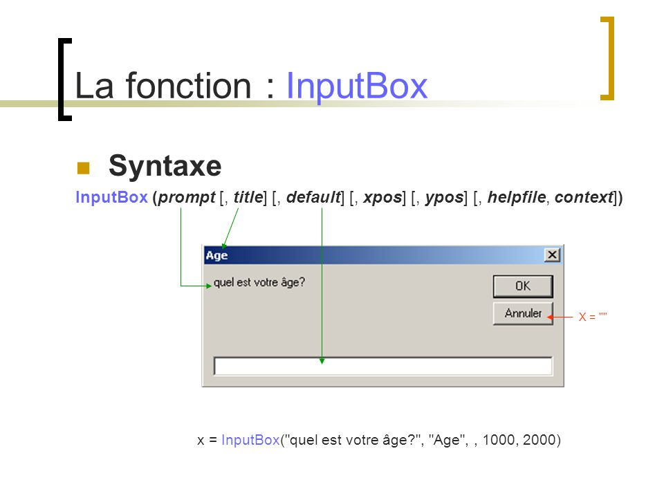 La fonction : InputBox Syntaxe