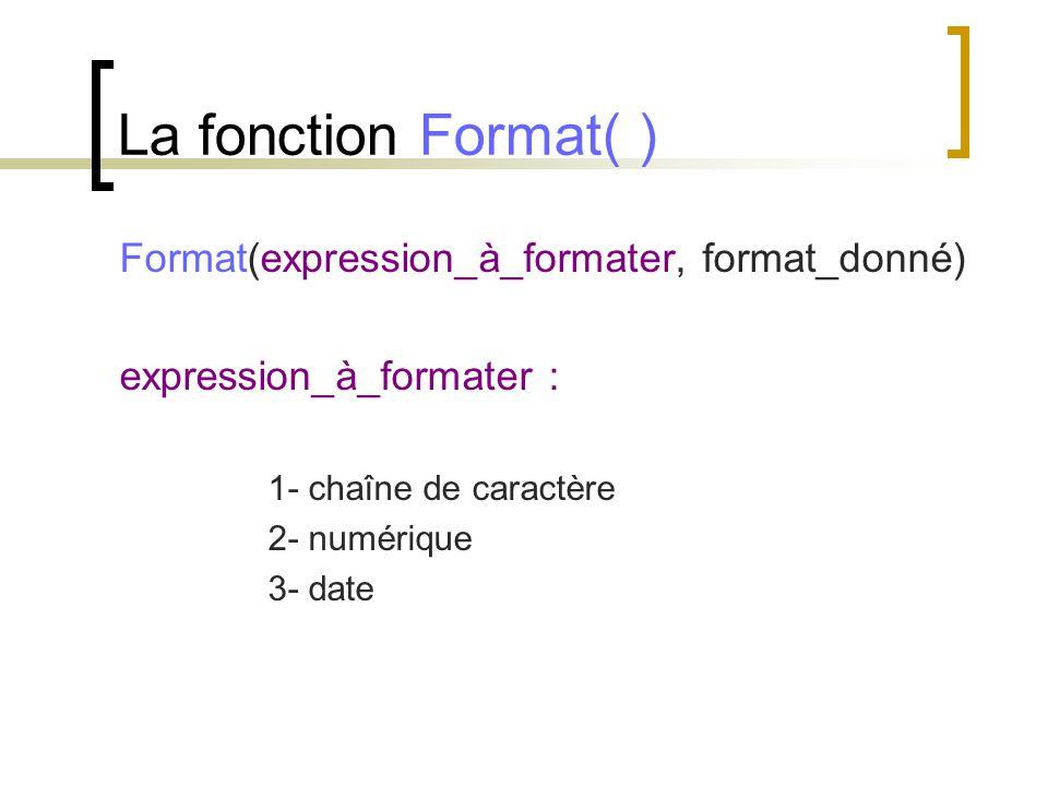 La fonction Format( ) Format(expression_à_formater, format_donné)