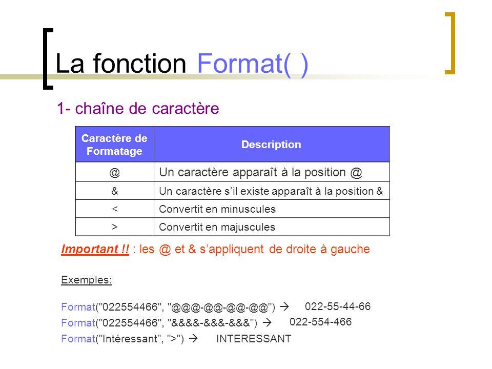 La fonction Format( ) 1- chaîne de caractère