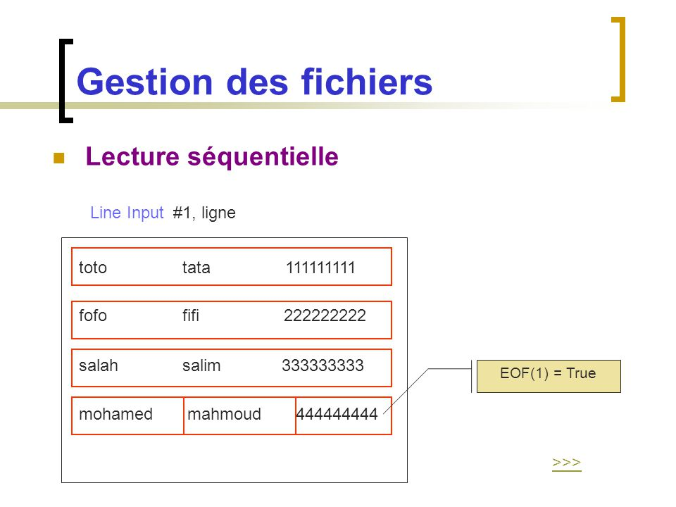 Gestion des fichiers Lecture séquentielle Line Input #1, ligne