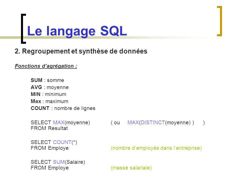 Le langage SQL 2. Regroupement et synthèse de données