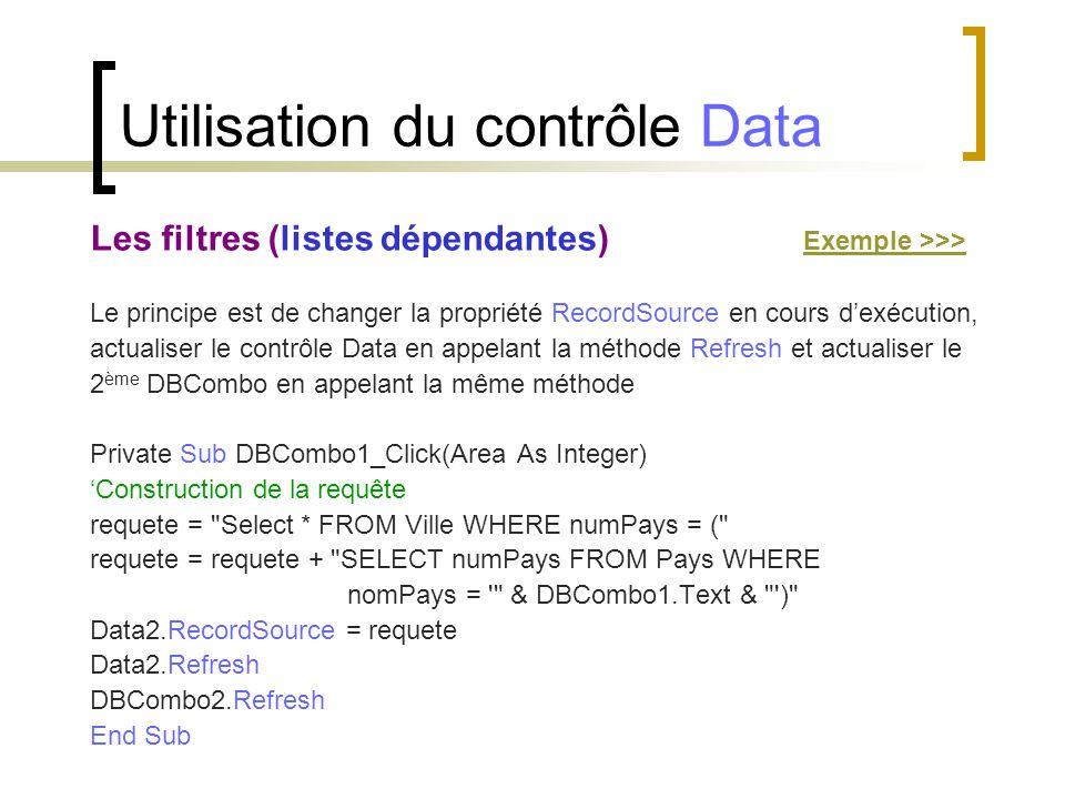 Utilisation du contrôle Data