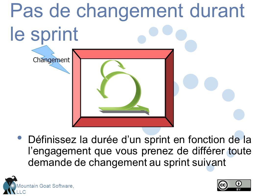 Pas de changement durant le sprint