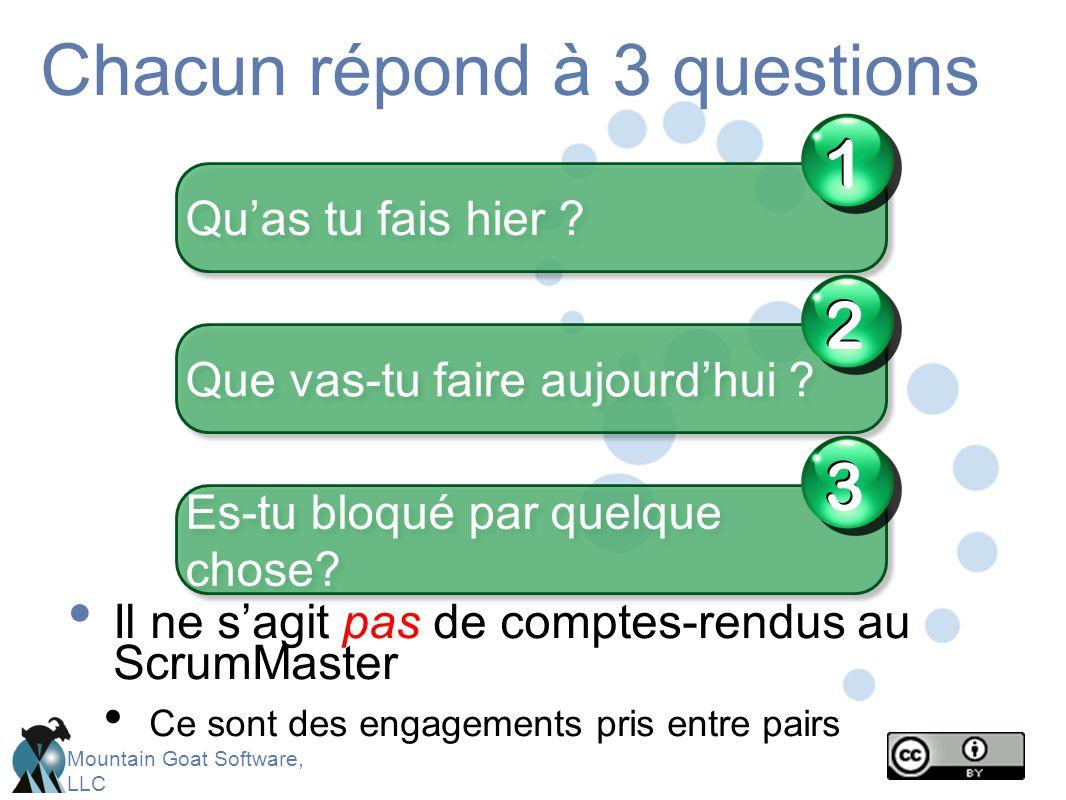 Chacun répond à 3 questions