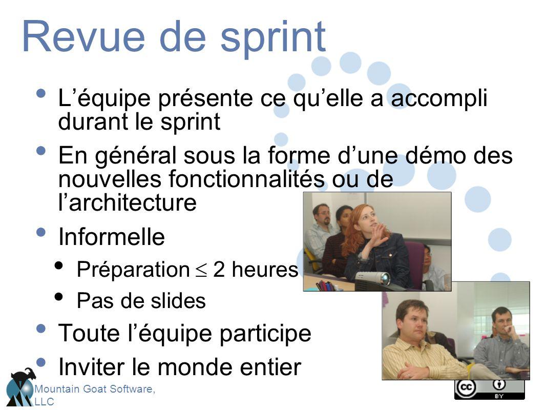Revue de sprint L'équipe présente ce qu'elle a accompli durant le sprint.