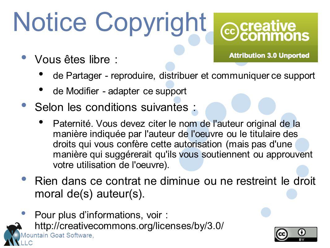 Notice Copyright Vous êtes libre : Selon les conditions suivantes :