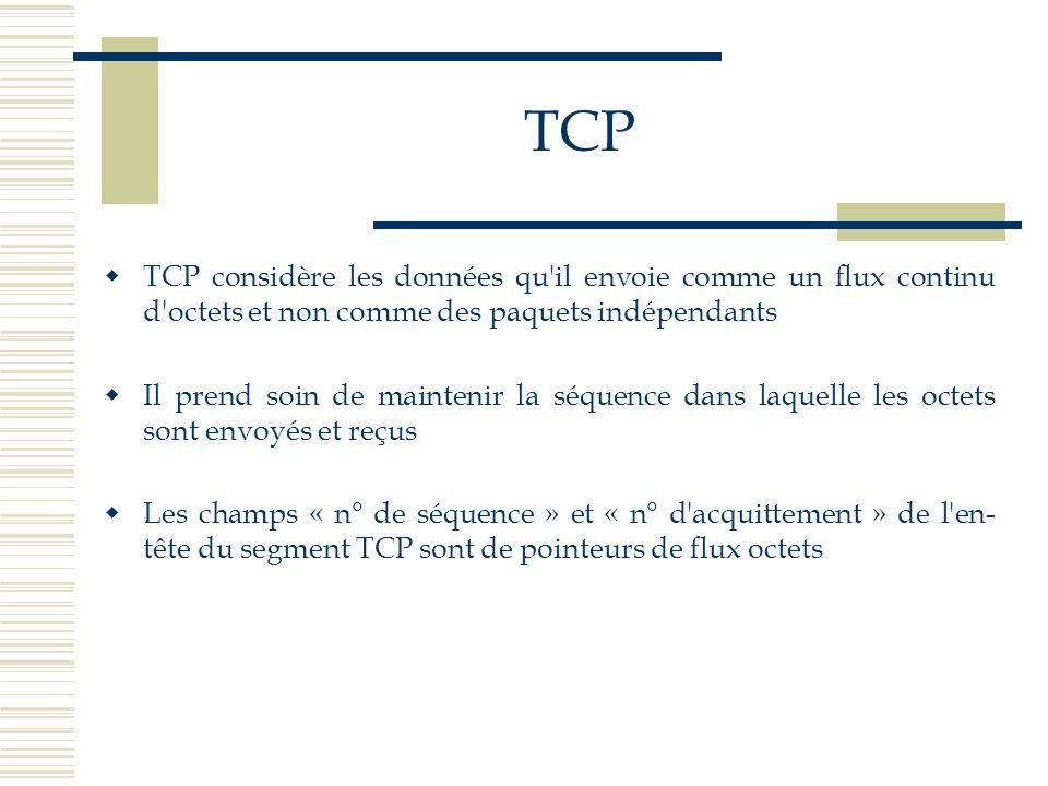 TCP TCP considère les données qu il envoie comme un flux continu d octets et non comme des paquets indépendants.