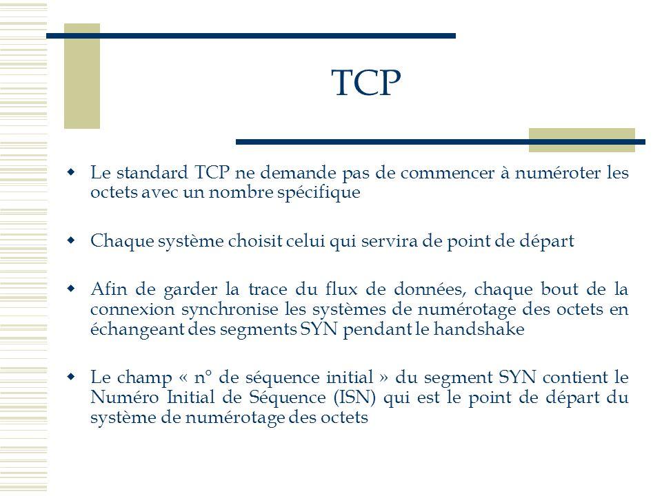 TCP Le standard TCP ne demande pas de commencer à numéroter les octets avec un nombre spécifique.