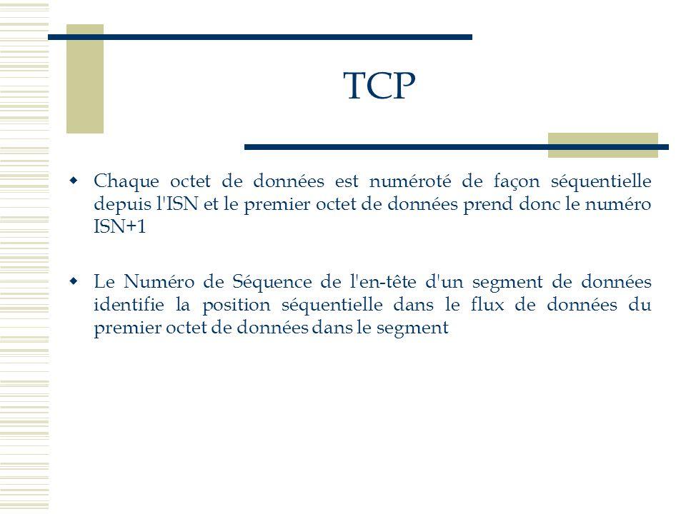 TCP Chaque octet de données est numéroté de façon séquentielle depuis l ISN et le premier octet de données prend donc le numéro ISN+1.
