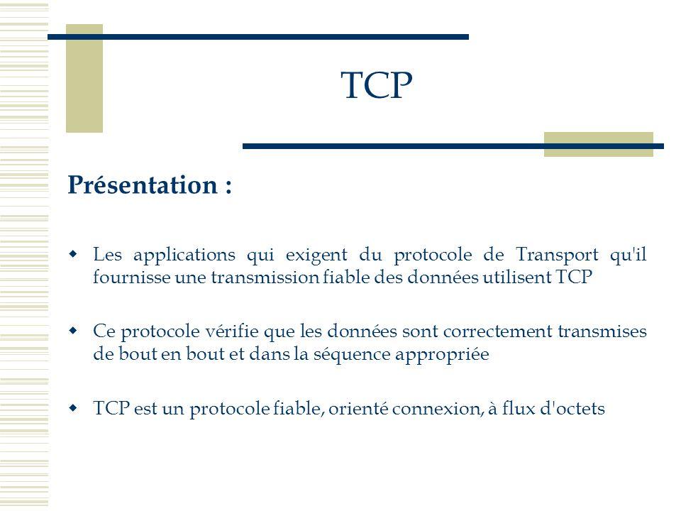 TCP Présentation : Les applications qui exigent du protocole de Transport qu il fournisse une transmission fiable des données utilisent TCP.