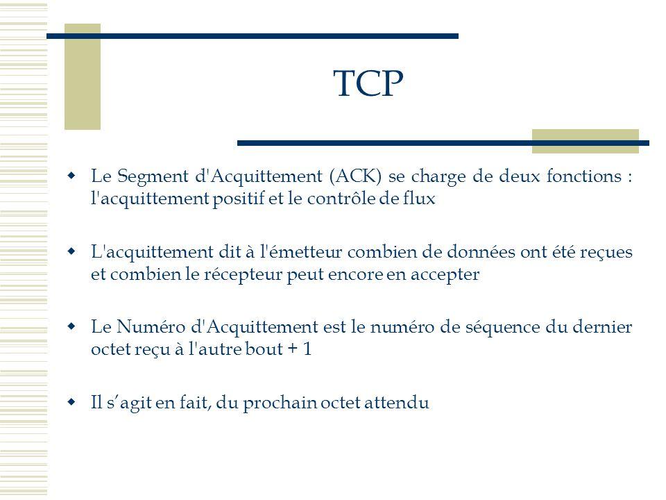 TCP Le Segment d Acquittement (ACK) se charge de deux fonctions : l acquittement positif et le contrôle de flux.