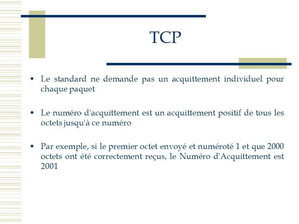TCP Le standard ne demande pas un acquittement individuel pour chaque paquet.