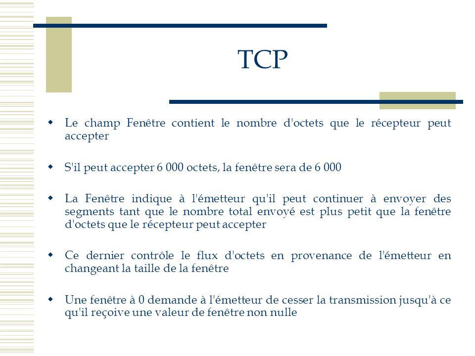 TCP Le champ Fenêtre contient le nombre d octets que le récepteur peut accepter. S il peut accepter 6 000 octets, la fenêtre sera de 6 000.