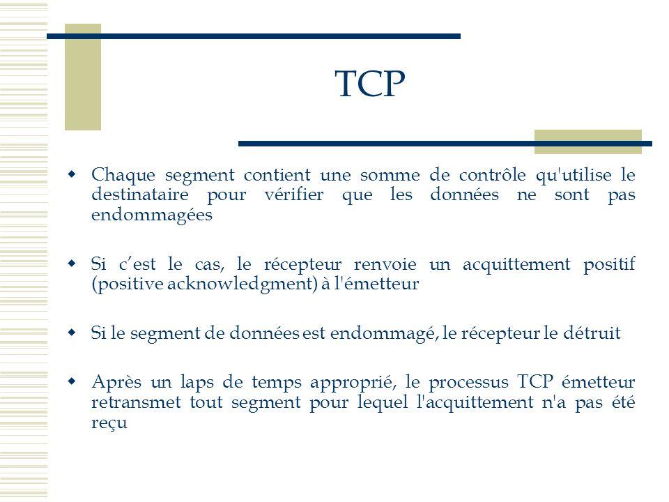 TCP Chaque segment contient une somme de contrôle qu utilise le destinataire pour vérifier que les données ne sont pas endommagées.