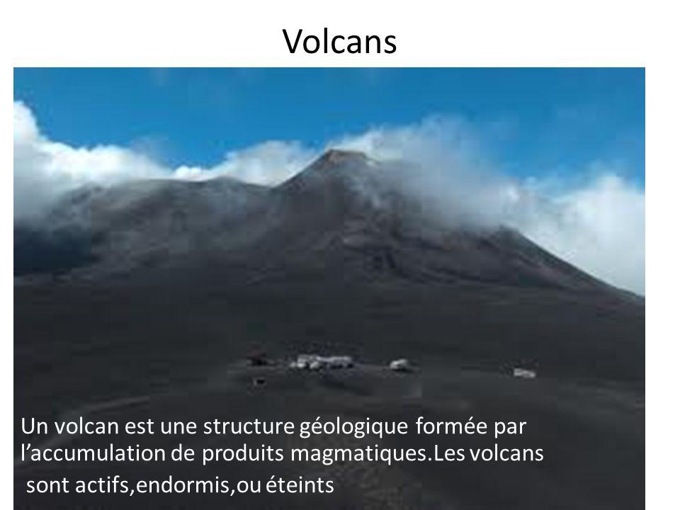 Volcans Un volcan est une structure géologique formée par l'accumulation de produits magmatiques.Les volcans sont actifs,endormis,ou éteints
