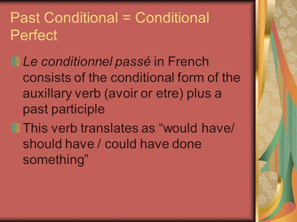Past Conditional = Conditional Perfect