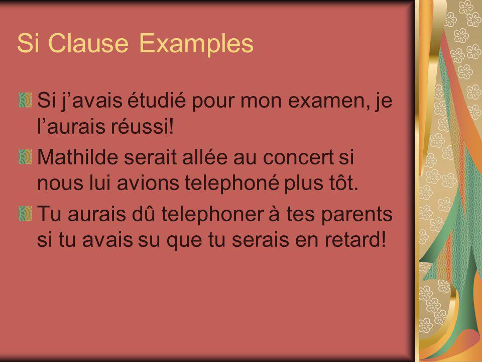Si Clause Examples Si j'avais étudié pour mon examen, je l'aurais réussi! Mathilde serait allée au concert si nous lui avions telephoné plus tôt.