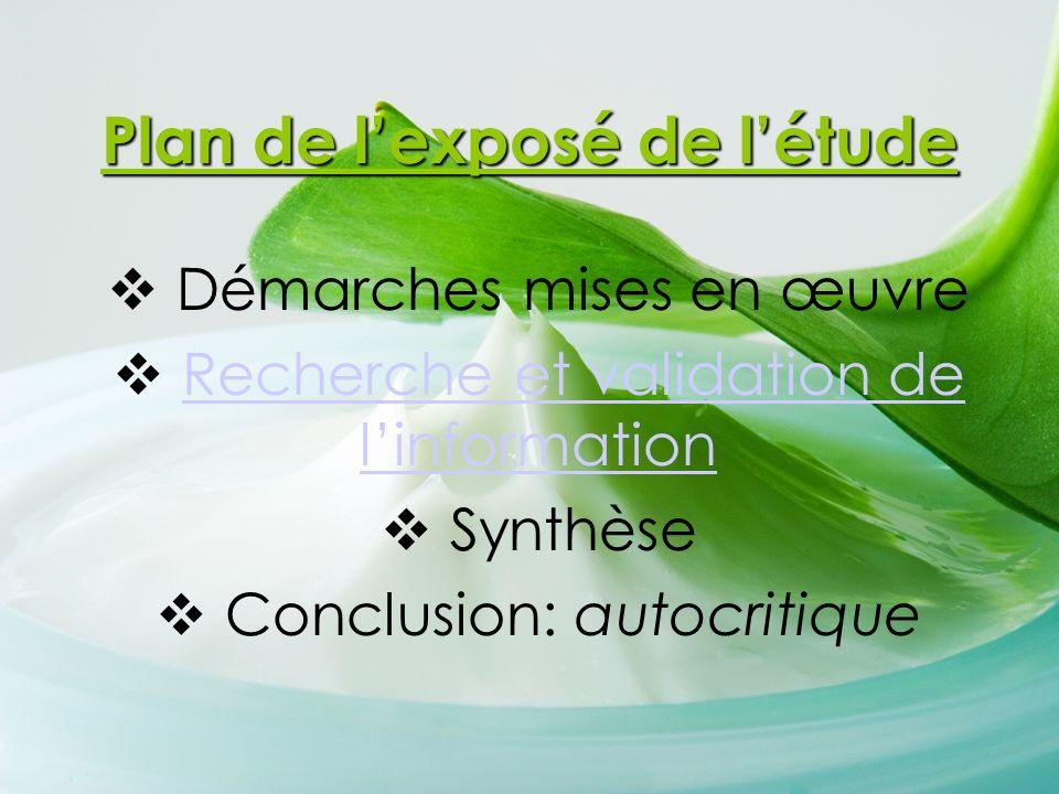 Plan de l'exposé de l'étude