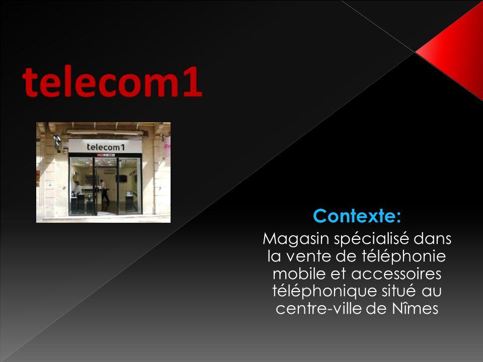 telecom1 Contexte: Magasin spécialisé dans la vente de téléphonie mobile et accessoires téléphonique situé au centre-ville de Nîmes.